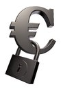 Euro symbol and padlock Stock Image