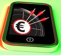 Euro symbol on smartphone showing european profits and finances Royalty Free Stock Images