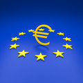 Euro symbol with stars around Royalty Free Stock Image