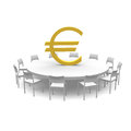 Euro symbol on a table with chairs around Stock Photography