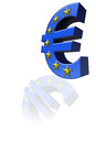 The euro symbol three dimensional and blue color is reflected Royalty Free Stock Photos