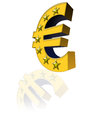 The euro symbol three dimensional and yellow color is reflected Stock Photography