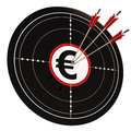 Euro Target Shows Wealth Currency And Prosperity Royalty Free Stock Photos