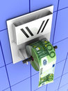 Euro in the toilet paper Royalty Free Stock Photo