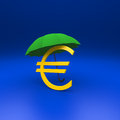 Euro and umbrella symbol with blue background Stock Image