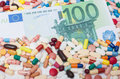 Euro within various pharmaceuticals health concept Royalty Free Stock Photo