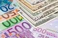 Euro versus dollar Stock Image