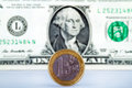 Euro versus dollar coin placed on the edge against george washington in the background looks a coin Royalty Free Stock Photo