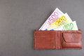 Euro wallet banknotes in a purse for your financial bonus cashback gifts and presents concepts copy space to the left Stock Photography