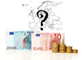 Euro zone survive with map bills and coins Royalty Free Stock Images