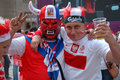 Euro2012 - Czech and Polish fans Royalty Free Stock Images