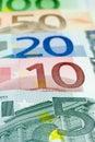 Euroanordnung - 5 Euro Stockbild
