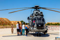 Eurocopter as super puma albacete spain jun helicopter taking part in a static exhibition on the open day of the airbase of los Stock Image