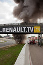Eurocup megane trophy burning car world series by renault circuit de catalunya barcelona spain october team gravity charouz driver Stock Photo