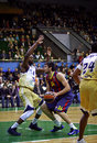 Euroleague basketball game between budivelnik kyiv and fc barcel ukraine november kostas papanikolaou of barcelona c fights for a Royalty Free Stock Images
