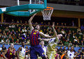 Euroleague basketball game budivelnik kyiv vs fc barcelona ukraine november blake ahearn of r fights for a ball with ante tomic of Stock Photo