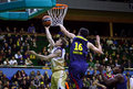 Euroleague basketball game budivelnik kyiv vs fc barcelona ukraine november dainius salenga of l fights for a ball with kostas Stock Image