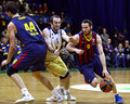 Euroleague basketball game budivelnik kyiv vs fc barcelona ukraine november marcelino huertas of r controls a ball during turkish Royalty Free Stock Images
