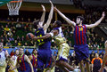 Euroleague basketball game budivelnik kyiv vs fc barcelona ukraine november ricky minard of c fights for a ball with ante tomic l Stock Photos
