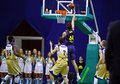 Euroleague basketmatch budivelnik kyiv vs fcet barcelona Arkivfoto