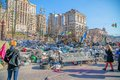 Euromaidan revolution in kiev ukraine march barricades on the khreshchatyk street still stand waiting for the presidential Royalty Free Stock Photography