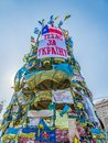 Euromaidan revolution in kiev ukraine march christmas tree on maidan square covered with messages of support still stands after Royalty Free Stock Photo