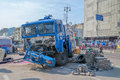 Euromaidan revolution in kiev ukraine march destroyed police track at khreshchatyk street near barricades Stock Image