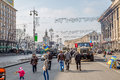 Euromaidan revolution in kiev ukraine march people visiting maidan square and barricades on the khreshchatyk street witch still Royalty Free Stock Images