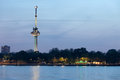 Euromast tower at dusk in rotterdam twilight netherlands river view Stock Photography