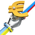 Euromaydan gas euro valve on the pipeline of russia and ukraine concept of conflict Stock Image