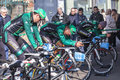 Europcar team houilles france march rd three cyclsits from including thomas voeckler the middle pedalling during the warming up Royalty Free Stock Image