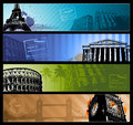 Europe cities horizontal travel banners eps Stock Image