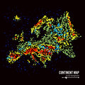 Europe. Continent Map Abstract Background Vector. Formed From Colorful Dots Isolated On Black.