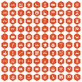 100 europe countries icons hexagon orange