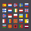 Europe flag icon set metro style vector illustration Stock Image