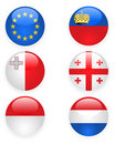 Europe flags buttons, part three Stock Images