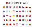 Europe flags of country. 45 flag rounded square icons