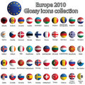 Europe glossy icons collection Stock Photos
