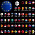 Europe glossy icons collection against black Royalty Free Stock Photography