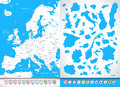 Europe highly detailed map with countours and pin navigation ico icons all elements are separated in editable layers clearly Stock Photo