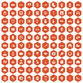100 Europe icons hexagon orange