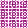 100 Europe icons hexagon violet