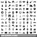 100 Europe icons set, simple style