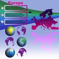 Europe map on blue background vector with shadow with world globes Royalty Free Stock Photography