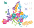 Europe map colored by countries with regions borders. Royalty Free Stock Photo
