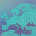 Europe map in the dot on blue background vector illustration Royalty Free Stock Photo