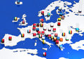 Europe map and flags Royalty Free Stock Photo