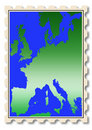 Europe map illustration on stamp Stock Image
