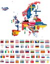 Europe map mixed with countries national flags. All european flags vector collection