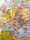 Europe map in Polish language. Atlas Royalty Free Stock Photo